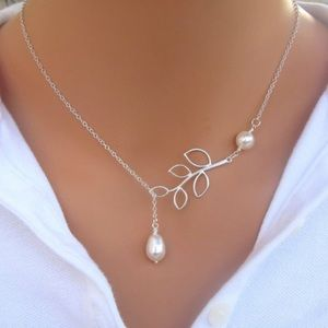Pretty Leaf and Double Pearl Adjustable Necklace